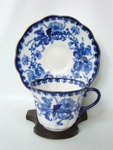 Flow Blue Tea Cup and Saucer Chrysanthemum R H Plant Staffordshire England - $34.64