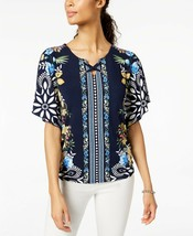 Jm Collection Floral Printed Flutter Sleeve Lace Up Keyhole Blouse Nwt P/L - $8.65