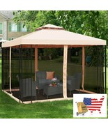 10 x 10 ft 2 Tier Vented Metal Gazebo Canopy with Mosquito Netting - $495.96