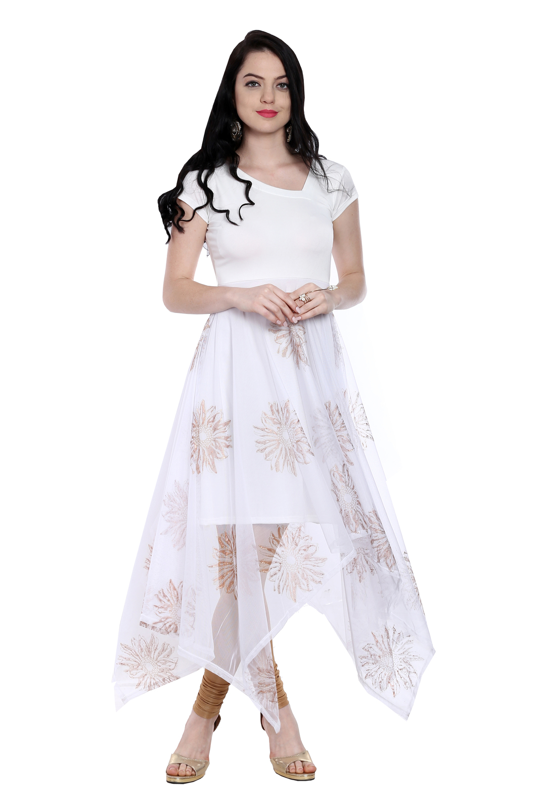 Ira Soleil white long a symetrical hem kurti with copper print on net