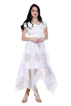 Ira Soleil white long a symetrical hem kurti with copper print on net - $1.010,55 MXN