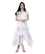 Ira Soleil white long a symetrical hem kurti with copper print on net - $49.99