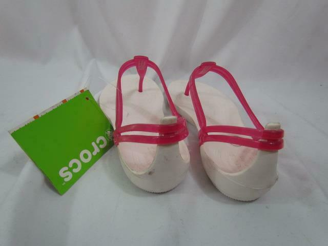 NWT Crocs Isabella T-Strap Berry Oyster Sz 11 M Comfort Sandals