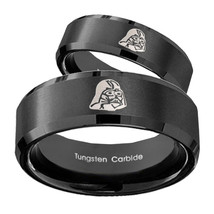 His Hers Star Wars Darth Vader Beveled Brush Black Tungsten Men's Ring Set - $79.98