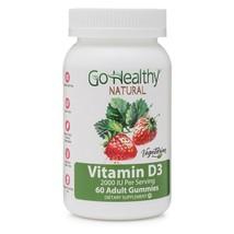 Go Healthy Natural Vitamin D3 Gummies for Adults 2000IU Vegetarian Koshe... - $14.01