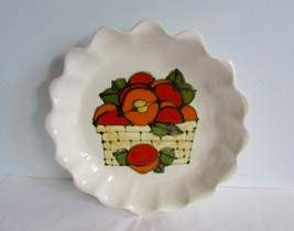 """Vintage Ardencraft Handmade Pie Plate Signed By Kate 10"""" Basket of Peaches - $15.00"""