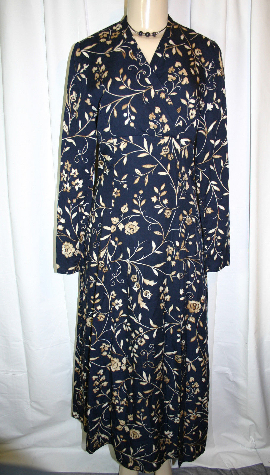83fe13abd83 Laura Ashley Long Navy Blue Beige Floral and 31 similar items. S l1600
