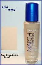 Rimmel MATCH Perfection Liquid Foundation SPF 18 #120 Ivory    FREE MAKE... - $9.95