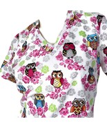 Dickies Psychedelic Owls Flowers XS Scrub Top - $15.83