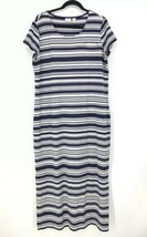 Zenergy By Chicos Womens Sz 2 US Size L Scoop Neck Maxi Dress Striped Bl... - $32.71