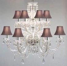 Murano Venetian Style All-Crystal Chandelier with Black Shades W/Chrome ... - $282.23