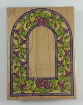 Stained Glass Morning Glory Arch Large Background Stamp Rubber Stampede ... - $9.74