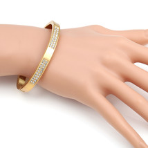 UE-Designer Gold Tone Hinged Bangle Bracelet With Swarovski Style Crystals - $19.99