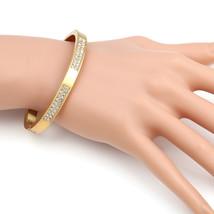 UE-Designer Gold Tone Hinged Bangle Bracelet With Swarovski Style Crystals - $19.99