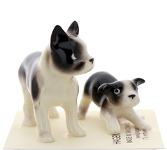 Hagen-Renaker Miniature Ceramic Dog Figurine Boston Terrier & Boston Terrier Pup