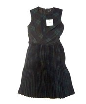 ASOS Women's Skater Dress Pleated Plaid Green Black Sz. 0 U.K. Sz 4 - $37.42