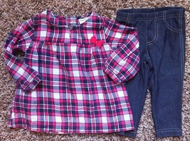 Girl's Size 6 M 3-6 Months 2 Pc Carter's Pink Navy Silver Flannel Top, L... - $11.20