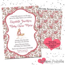Cradle Floral Vintage Baby Shower Invitation PRINTABLE Personalized - £9.07 GBP