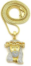 Crown Jesus Micro Glitter Pendant with 24' Chain Necklace (Gold or Rhodi... - $58.25