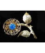 Vintage pin brooch flower sapphire rhinestone Sept birthstone gold tone ... - $15.00