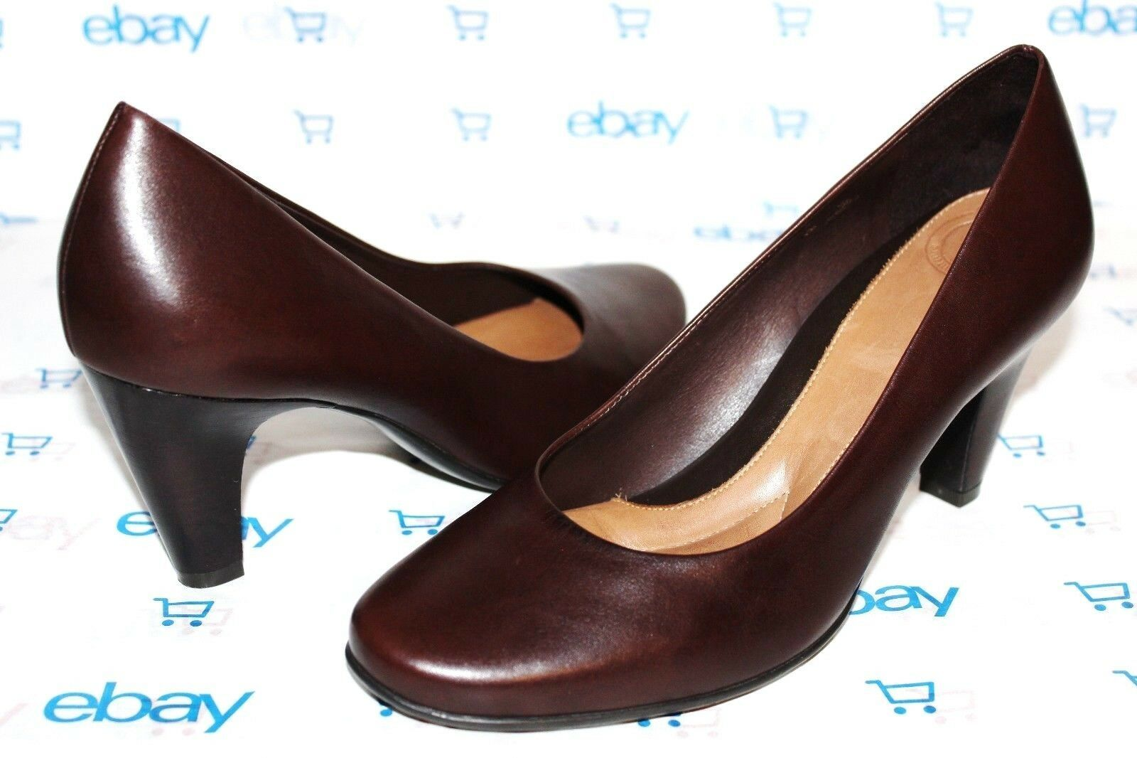 "Primary image for ❤️ NURTURE Avery Chocolate Leather 3"" Heel Comfort Pumps 7 M EXCELLENT! L@@K!14"