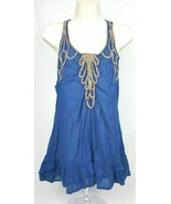 Womens Free People Blue Gold Embroidered Ruffle Sleeveless Tank Top Sz 8 - $38.69