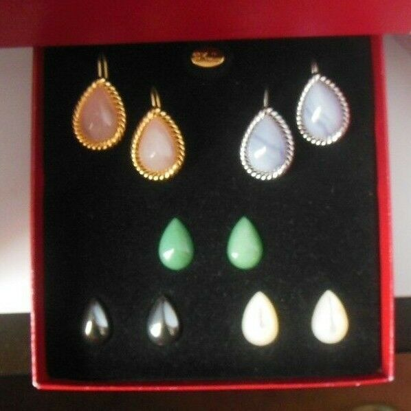 Vintage Signed KJL Magnetic Stone Earrings W/5 Pair of Interchangeable SP Stones
