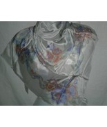 Liz Claiborne Designer Scarf Vintage 33 Square 100 percent Silk Gray Lad... - $19.99