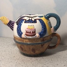 Department 56 Teapot Mug Cup Combo Combination Tea Pot Coffee Birthday Cake Belt - $29.65