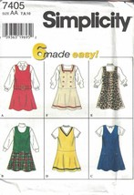Simplicity Girls Flared Drop Waist Jumper 6 Variations #7405 Size 7-10 N... - $5.93
