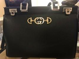 NWT GUCCI Black Zumi Grainy Leather Medium Top Handle Handbag Bag- Preloved - $961.53