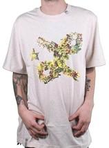 LRG Herren Natürlich Heather Blumenmuster Kursiv L-R-G Logo T-Shirt