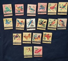 Vintage Lot 18 Matchbooks Birds Butterflies and Fish Ohio Match Company ... - $31.69