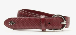 Lacoste Women Engraved Round-Buckle Texturized Leather Belt TAWNY PORT Small 36 - $37.84