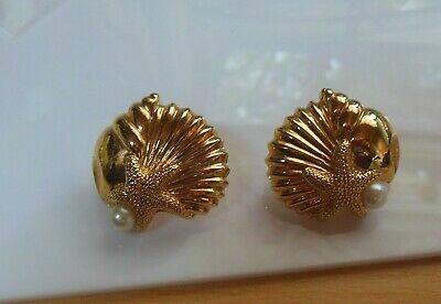 Primary image for Vintage Avon gold-tone Faux Pearl Shell Starfish Pierced Earrings