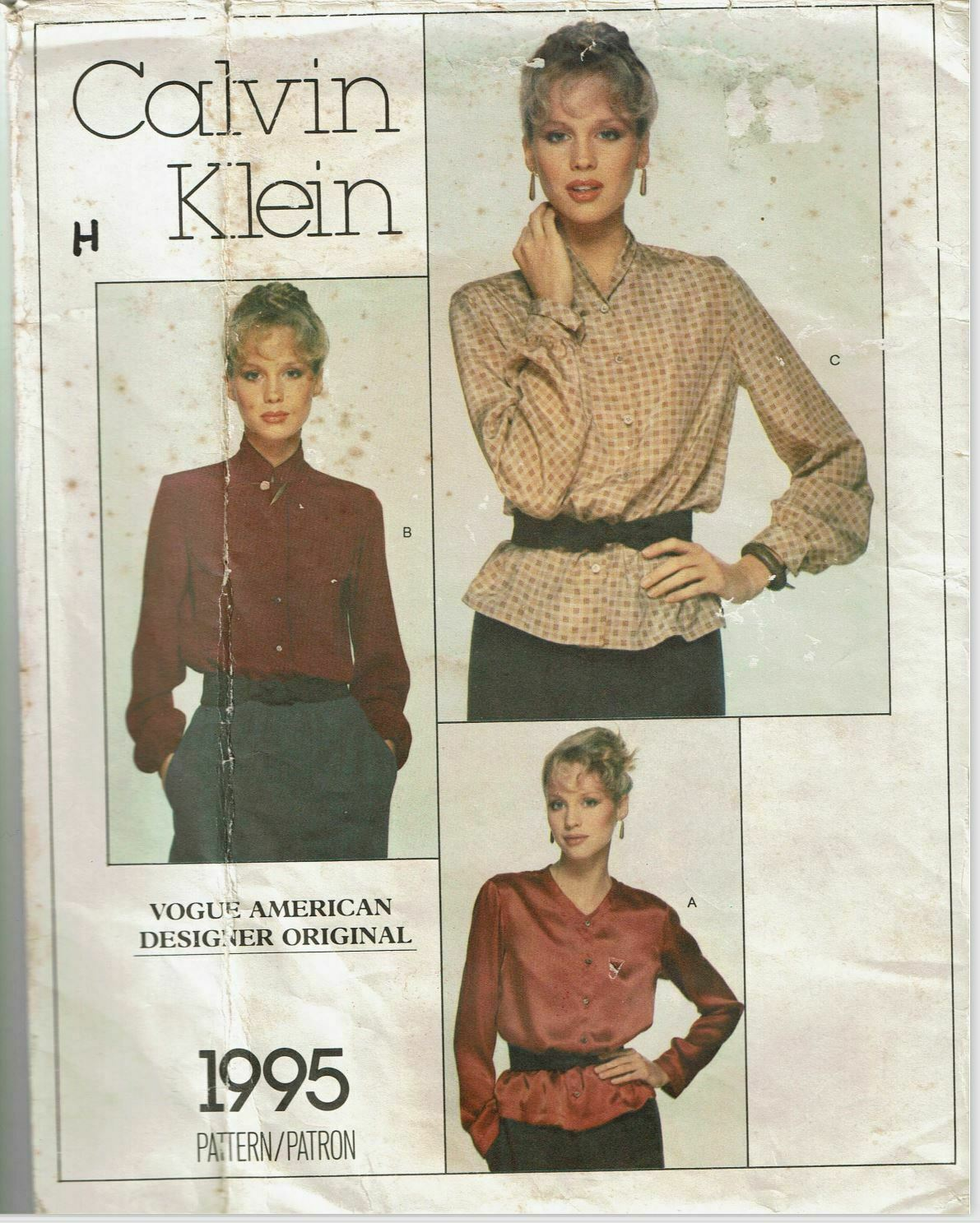 Primary image for Calvin Klein Vogue Sewing Pattern 1995 Misses Blouse Size 10 VTG 70s