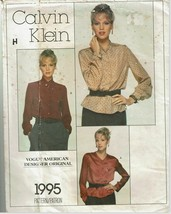 Calvin Klein Vogue Sewing Pattern 1995 Misses Blouse Size 10 VTG 70s - $12.59