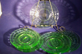 Set of NINE!! Bread and Butter Plates in Block Optic Green by Anchor Hoc... - $32.50