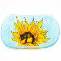 Fused Art Glass Sunflower Design Square Soap Dish Handmade Ecuador - $19.79