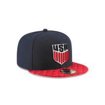 New USA US Soccer New Era 59Fifty Checked Navy Red Fitted Size 7 Hat Cap - $24.36