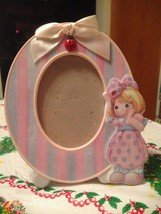 2001 Precious Moments Pink Girl w Ladybug Oval Ceramic Picture Photo Fra... - $22.99