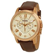 Fossil Grant Chronograph Eggshell Dial Brown Leather Men's Watch FS4991 - $340.00