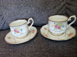 2 VINTAGE ROYAL ALBERT PETIT POINT CHINA TEA CUPS & SAUCERS ROSE FLORAL - $19.19
