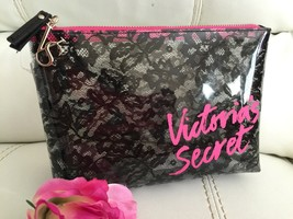 New Victoria Secret Pink Clear Black Floral Cosmetic Makeup Bag Purse! Elegant - $19.75