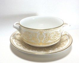 Royal Worcester Hyde Park Cream Soup Bowl Cup & Saucer Set s - $24.73