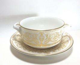 Royal Worcester Hyde Park Cream Soup Bowl Cup & Saucer Set s - $24.73