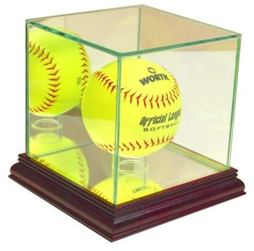 Softball Glass Display Case Holder with Cherry Base