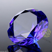 40mm Blue Crystal Diamond Shape Paperweight Facet Glass Jewel Wedding Fa... - $6.99