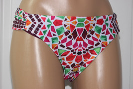 NEW Becca Rebecca Multi Valencia Ruched Tab Side Hipster Bikini Bottom XL - $11.84