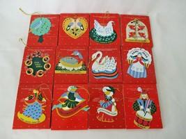 Avon Twelve Days of Christmas Ornaments Colorful Enamel on Metal Full Se... - $45.00